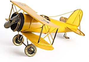 M Joy Vintage Airplane Model-Metal Aircraft Biplane Home Decor Ornametal Handicraft Kids Toy Model,Christmas,Souvenir,Ornament,Desktop Decoration (Yellow)