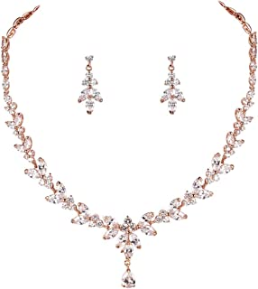 WeimanJewelry Silver/Gold/Rose Gold Plated Women Cubic Zirconia Round CZ Marquise Teardrop Bridal Necklace and Drop Earring Set for Bride Wedding
