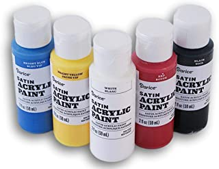 Primary Colors Satin Acrylic Paint Set - Black, White, Red,  Blue, Yellow
