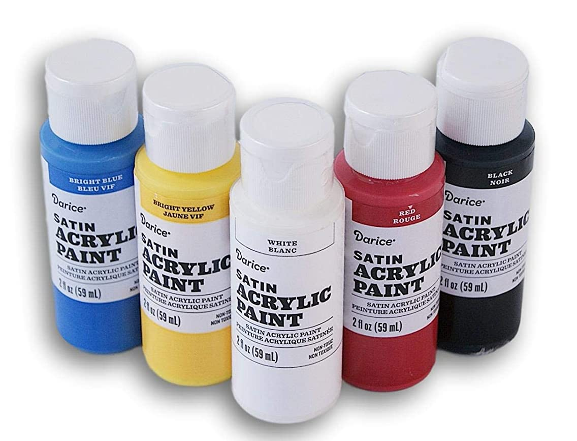 Primary Colors Satin Acrylic Paint Set - Black, White, Red, Bright Blue, Bright Yellow