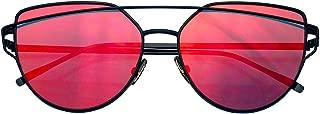 Emblem Eyewear - Cat Eye Mirrored Flat Lenses Aviator Sunglasses Metal Frame Womens Shades
