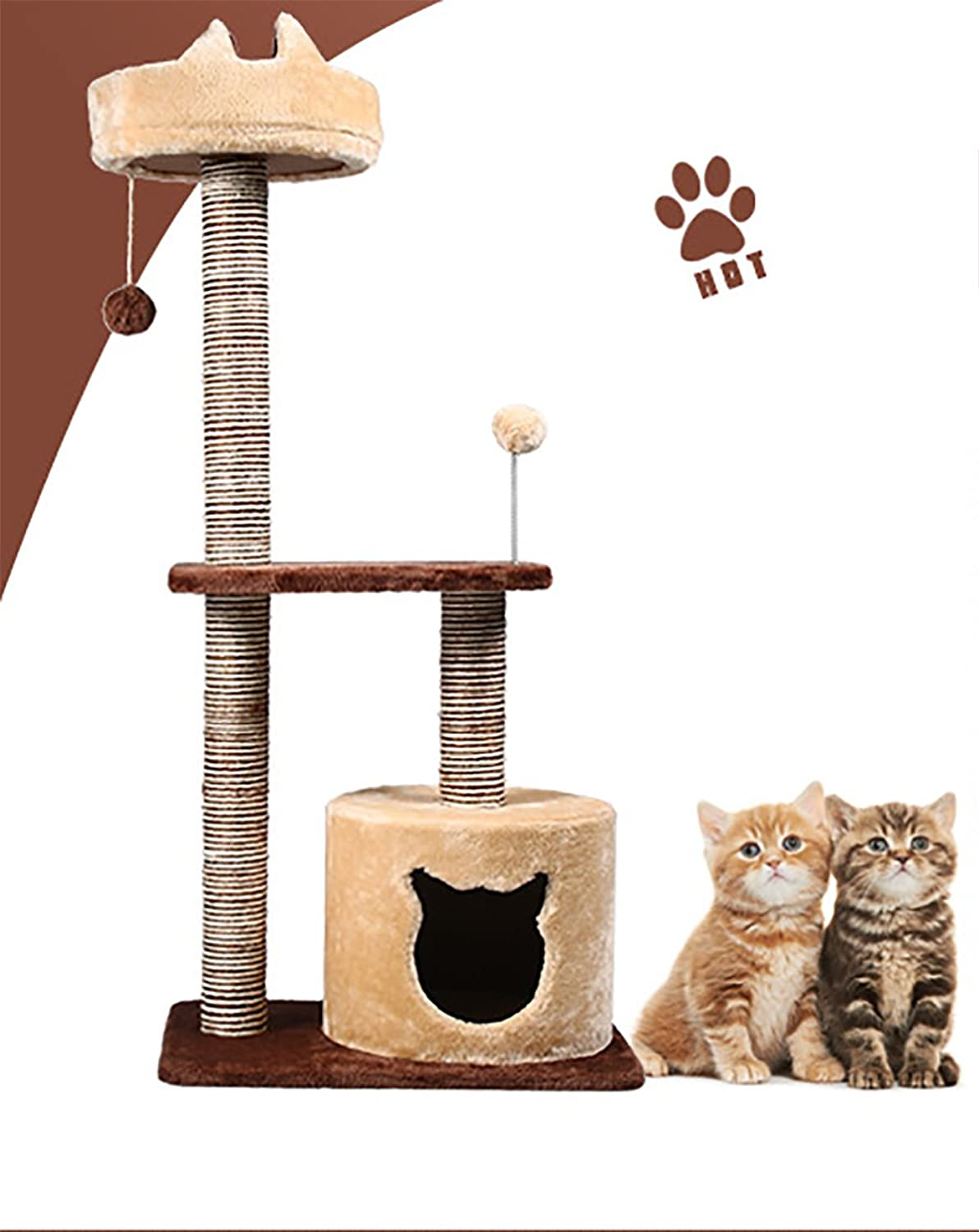 Cat Scratcher 20 14 42.8  Pet Tower Climber Adult Kitty Tree Castle Playhouse 5 Layers for Medium Adult Cats