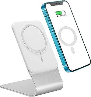 ICARER Ständer für MagSafe Drahtloses Ladegerät, Haltbarer Telefonhalter aus Aluminiumlegierung Aufladen mit MagSafe Magnetic Wireless Charger für iPhone 12/12 Mini/12 Pro/12 Pro Max Silber