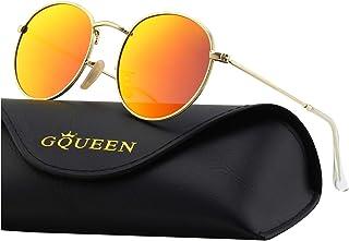 fc9eedd557 GQUEEN Lunettes de soleil polarisées lunettes rondes Miroir Ronde Rétro  Vintage Métal Cadre pour Homme et