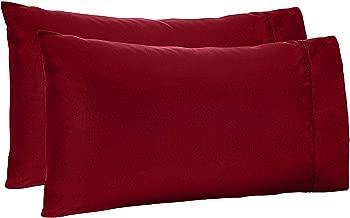 SO Soft Linen Velvet Touch/Fiber/Comfort Pillow (18x28 Inch, Maroon) -Set of 2