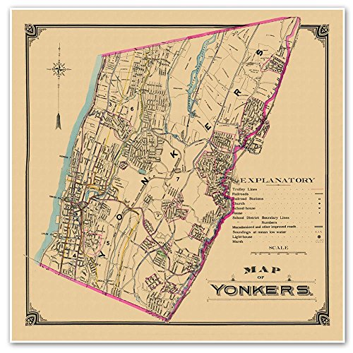 Antiguos Maps - Transportation & Street Map of Yonkers New York Circa 1900 - Measures 24 in x 24 in (610 mm x 610 mm)
