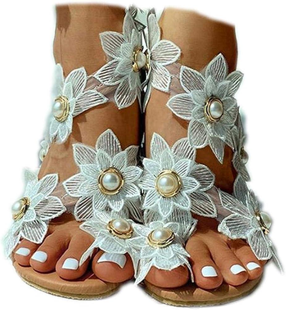 Vimisaoi Womens Flip Flops Flat Sandals Bohemia Slip On Comfy Flower Low Heel Rhinestone Slide Sandals