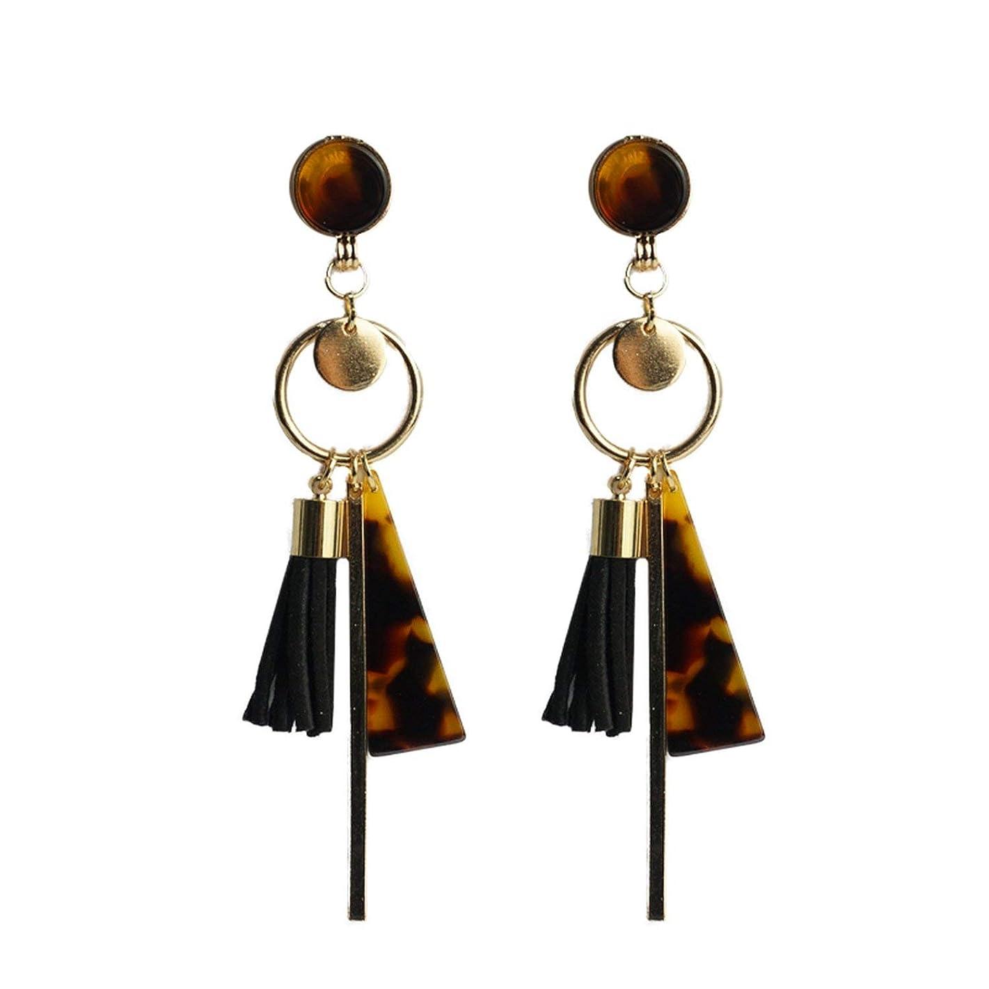 Cpop Trendy Black Tassel Earrings For Women Boho Gold Leopard Acrylic Pendant Dangle Earrings Fashion Resin Jewelry Gifts