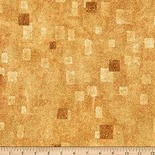 Robert Kaufman 0540669 Gustav Klimt Squares Metallic Fabric by The Yard, Tan