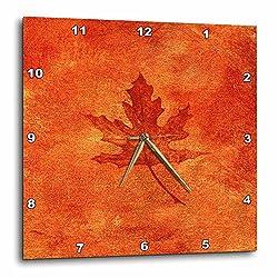 3dRose DPP_35021_3 Large Orange Maple Leaf Wall Clock, 15 by 15
