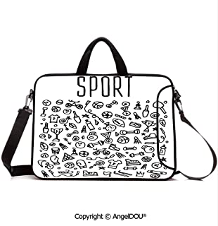 AngelDOU Customized Neoprene Printed Laptop Bag Notebook Handbag Hand Drawn Sport and Fitness Elements Gymnastics Icons Cute Cartoon Style Compatible with mac air mi pro/Lenovo/asus/acer Black an