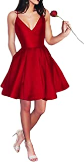 Best short satin v neck homecoming a line dress Reviews