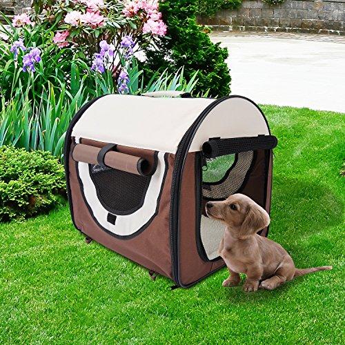 PawHut D1-0100 faltbare Transportbox für Haustier, kaffeebraun/creme - 2