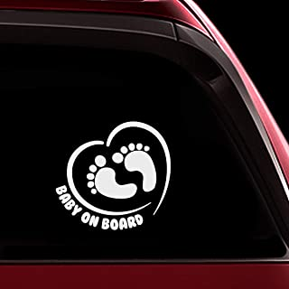 TOTOMO Baby on Board Sticker - Funny Cute Safety Caution Decal Sign for Cars Windows and Bumpers - Footprint in Heart ALI-038