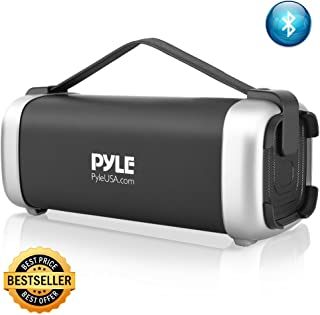 Pyle PBMSQG12 Compact & Portable Bluetooth Wireless Speaker with Built-in Rechargeable Battery MP3/USB/Micro SD Readers FM Radio