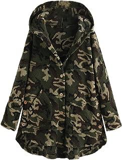 Mujer Plus Size Abrigo Casaca Chaquetas Capucha de Camuflaje/Leopardo Teddy Fleece Peludo Botones Ropa Suelta
