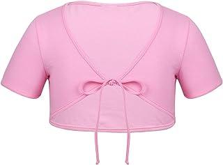 b32a92cae ACSUSS Kids Girls Cotton Short Sleeve Bolero Cardigan Ballet Dance Dress  Wrap Tops Cropped Shrug Sweaters