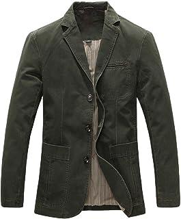 FSSE Mens Business Plain Slim Cotton Casual Plus Size Dress Blazer Jacket Suit Coat