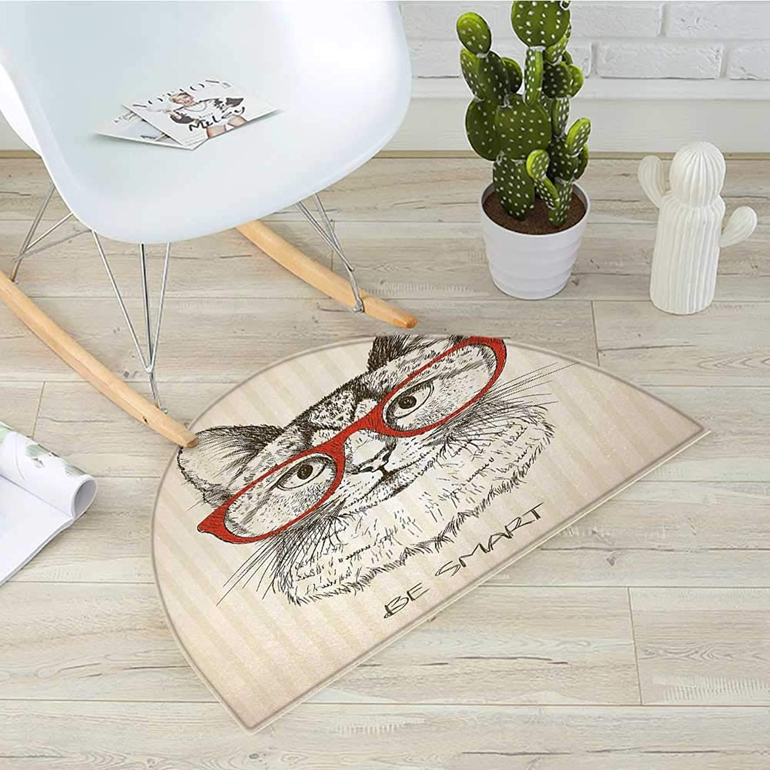 Hipster Semicircle Doormat Animal Kitten Cat with Vintage Retro Quote Glasses Sketchy Artwork Halfmoon doormats H 31.5  xD 47.2  Ivory Olive Green Vermilion