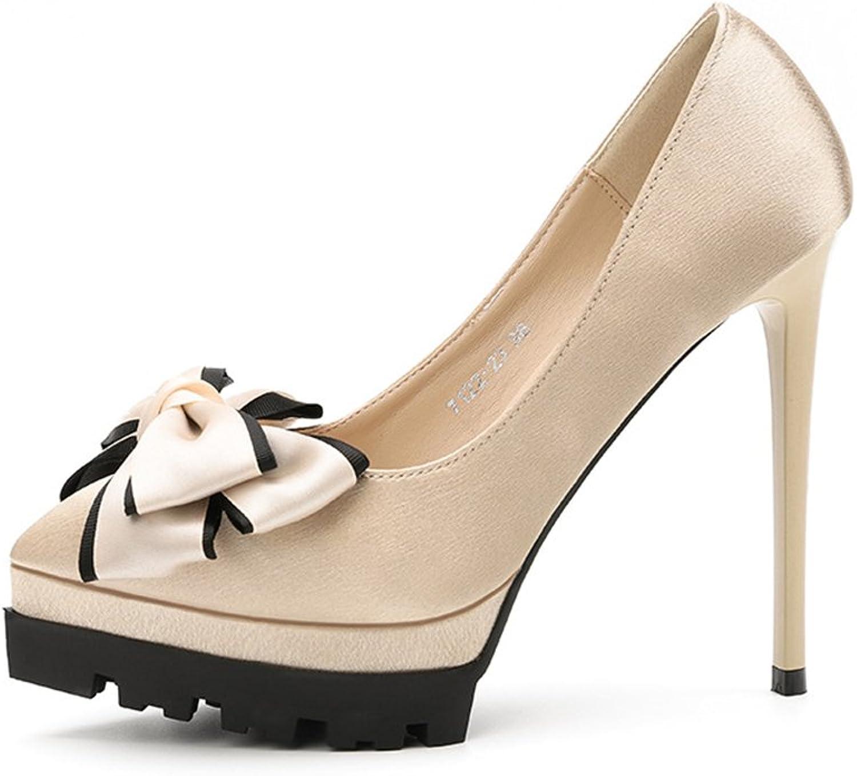 Cloudless Women Pumps High Heel Platform Bows Rhinestones Evening Wedding shoes