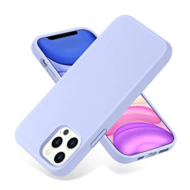 SNBLK Compatible with iPhone 12 Pro Max Case Liquid Silicone 6.7 Inch (2020), Soft Thick Protective Rubber Cell Phone Basic Cases Covers for Women Men Girls Boys, Light Purple