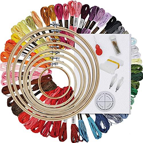 HAUSPROFI 刺しゅうキット 103PCs 7枚刺しゅう枠 30本刺繍針 50種刺繍糸 巻き取りツール 糸通し 手芸編み器 刺繍用布1枚 刺しゅうツールセット芸 豊富なアクセサリーを一応揃った 初心者に最適 (7セット)