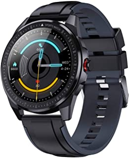 Gymqian Smart Watch, 1.28 Pulgadas Táctil Full Circle Circle Call Reminder Pedómetro Pulsera, Reloj de Llamada a Prueba de Bomberos Ip68 clásico/Black and gray