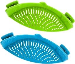 Snap Strainer, DaKuan 2 Packs of Hands-free Clip-on Heat Resistant Colander Pour Spout for Pasta Vegetable Noodles Pot bow...