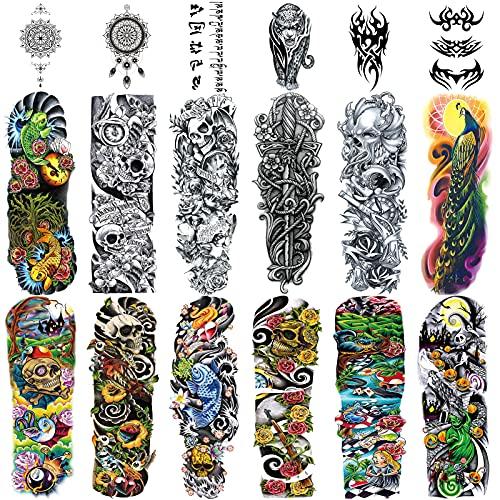 Full Brazo tatuajes temporales, Konsait Grande Tatuaje Temporales Mangas negro tatuaje cuerpo pegatinas para adultos hombre mujer (18 hojas)