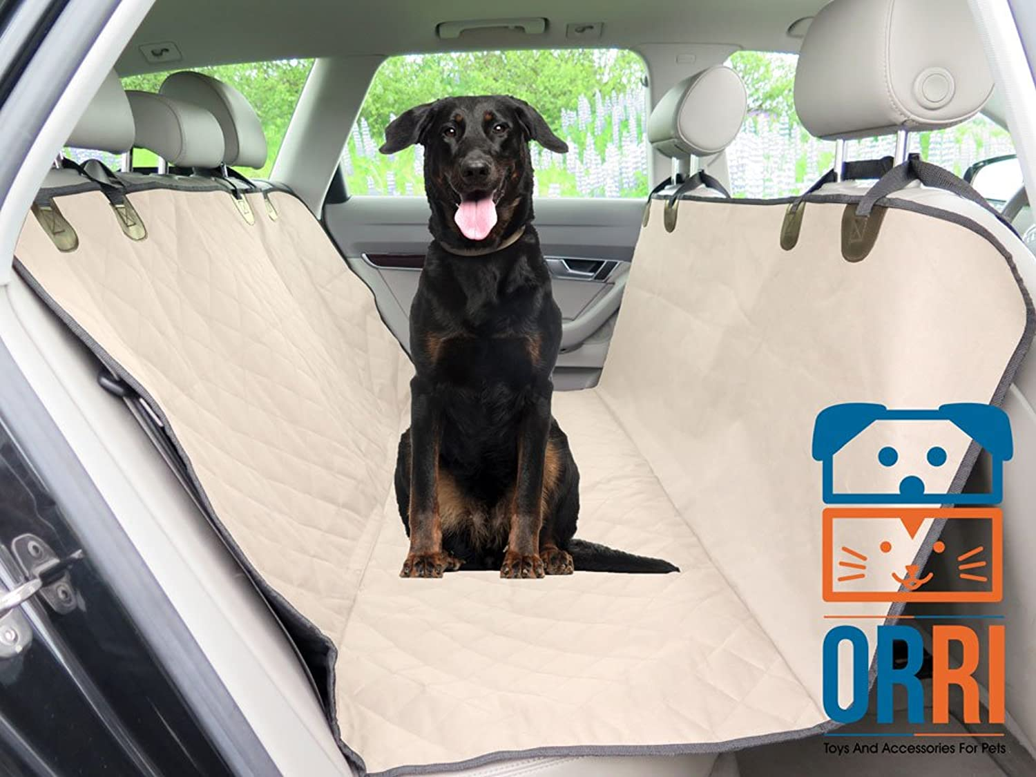 Amazing Dog Car Seat Cover, Rear, Durable, Waterproof, Nonslip Rubber Backing, Seat Anchors, Velcro Seat Belt Openings, Quilted, Padded, Comfortable, Width 54 , Easy to Install, Washable. (Beige)