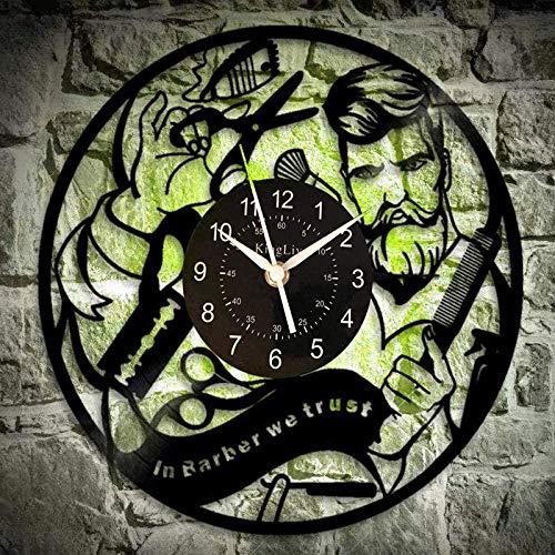 TIANZly VinylBarber Shop Vinyle Horloge Murale Coiffeur Coiffeur Disque Vinyle Horloge Murale Salon Coiffeur Salon de Coiffure pour Femmes Hommes 12 Pouces