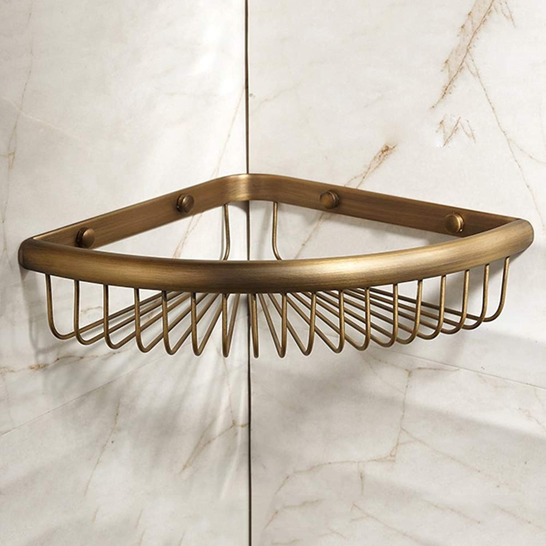 Rishx Wall-Mounted Tier Triangle Fan Antique Copper Bathroom Shelf Rack, Brass Wall Bathroom Shelves, Kitchen Retro Storage Shelves Baskets (Size   1-Layer)