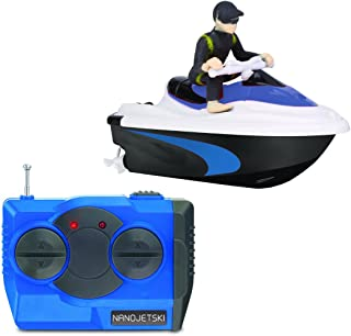 RC Nano Jetski Toy Micro Remote Control Battery Operated Watercraft Wireless Precision 4-Button Twin Prop Control 50 Foot Range (Colors Vary)
