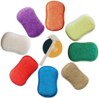 Antibacterial Microfiber Kitchen Scouring Pads Double Sided Scrubbing Sponges Scourer Non Odor Dish Scrubber Brush,