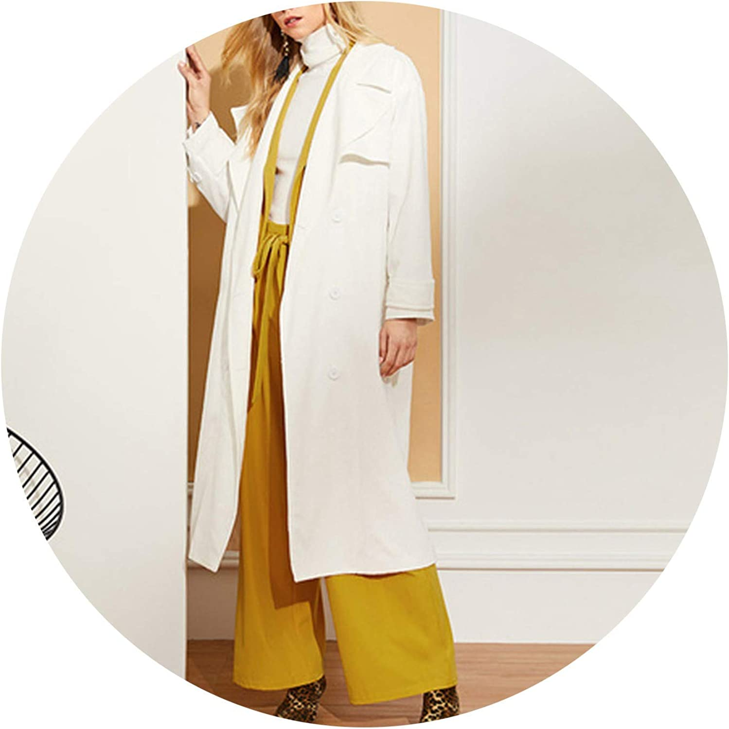 GoodSexjoy Office Lady Button Front Split Long Notched Collar Solid Coat Elegant Women Outerwear