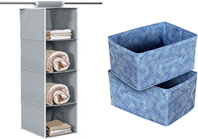 Kuber Industries 4 Shelf Closet Hanging Organizer, 4 Tier Closet Wardrobe Organizer+Kuber Industries Laheriya Print Non Woven Fabric Modular Closet Organizer Box