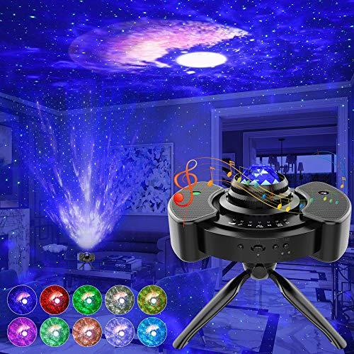 Proyector Estrellas 4-en-1, Lampara Proyector con Altavoces Estéreo, 14 Colores 4 Brillo Lampara Estrellas con Bluetooth/Temporizador/Control de Voz/USB para Niños/Decoración/Regalo