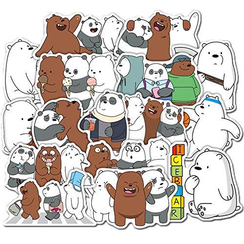 36 Stück Cartoon We Bare Bears süße Bären Aufkleber Little Bear Aufkleber PVC Wasserdicht Graffiti Aufkleber für Laptop Gepäck Spielzeug Kinder