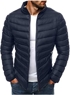 Men Stand Collar Jacket Coat, Male Solid Long Sleeve Zipper Autumn Winter Warm Down Outwear