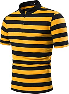 Mens Striped Polo T Shirts - Fashion Stand Collar Blouse Short Sleeve Tops