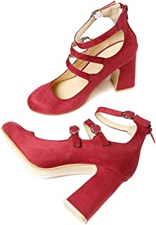 Sam Carle Women's Pumps,Simple Round Toe Back Zipper Chunky Heel Black Red Daily Shoes