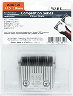 Wahl Professional Competition Series #1.5 3.8mm Clipper Blade - 2365-100 - Fits 5 Star Rapid Fire, Sterling Stinger, Oster 76 and Titan, and Andis BG Clippers.