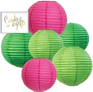 Andaz Press Blush Pink, Emerald Green, Kiwi Green Hanging Paper Lanterns Decorative Kit, 6-Pack with Free Gifts Table Party Sign, Tropical Luau, Cactus, Llama, Boho Pineapple, Pastel Jungle Birthday