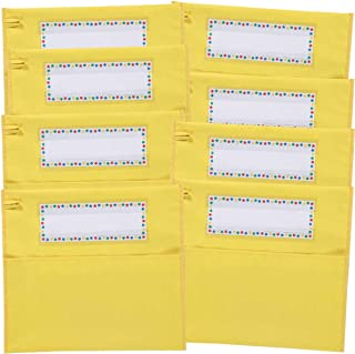 Really Good Stuff Store More Chair Pockets - Set of 8 - Pocket Chair Organizer with Name Tag Keeps Students Organized and Classrooms Neat - Yellow