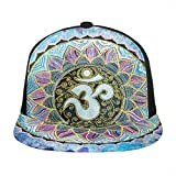 ZORIN Gorra de béisbol 3D con ala plana Mandala Rainbow Indigo Flower Snapback...