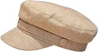 Cotton Linen Sailor Captain Caps Retro Breton Beret Cap Flat Top Newsboy Fisherman Hat Unisex
