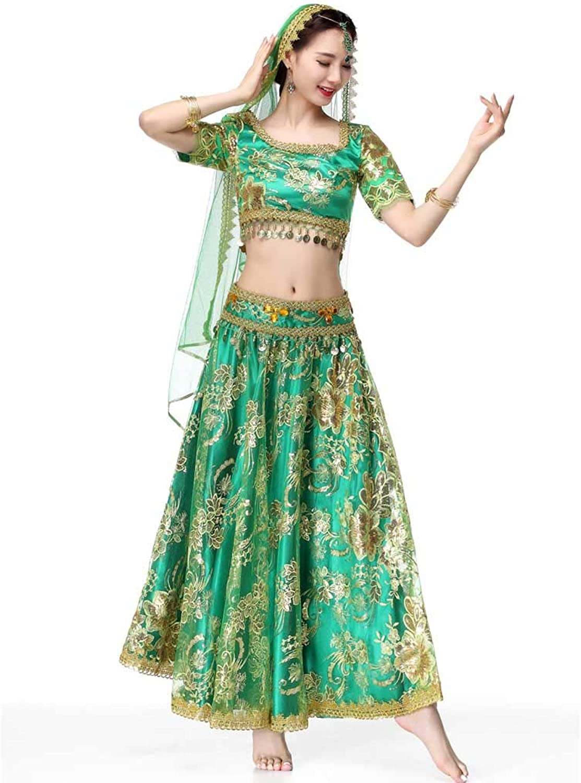 RJ New Ladies Modern Round Neck Short-Sleeved Belly Dance Dress, Latin Dance Waltz Dance Skirt