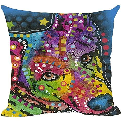 QDAS Cute Art Pet Dog Chihuahua Pillow Colorful Animals Sofa Bed kussenslopen kussenslopen van canvas gepersonaliseerd goed cadeau voor hondenliefhebbers