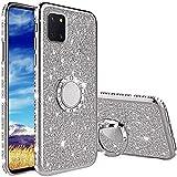 Coqin Hülle Kompatibel mit Samsung Galaxy Note 10 Lite, Glitzer Diamant Handyhülle mit Ring Ständer Schutzhülle, Superdünn Stoßfest TPU Silikon Tasche Glitzer Handyhülle Schutzhülle - Silber