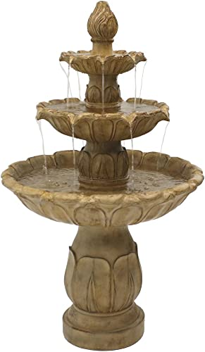 lowest Sunnydaze Classic Tulip Outdoor Water Fountain - 3-Tier Waterfall Fountain & Backyard Water Feature for Patio, Yard, & Garden - Garden Stone - 46 2021 Inch 2021 Tall outlet sale